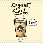 Coffee to go sketch — Stockvector