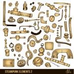 Steampunk elements set — Stock Vector #71495403