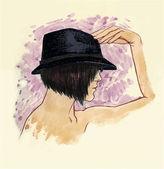 Girl in a hat in profile — Stockvektor