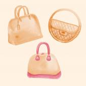 Hand drawn watercolor handbags — Stock Vector