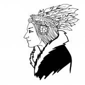 Woman American Indian sketch — Stock Vector
