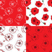 Seamless pattern red poppies — Stock Vector