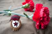 Soviet guards badge and two red carnations — Stock Photo