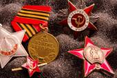 Set of Vintage Soviet military medal and orders (the Fame, for the capture of Berlin, patriotic war, Proletarians of all countries, unite USSR) — Stock Photo