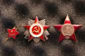 Set of Vintage Soviet military red stars — Stock Photo