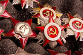 Collection of Vintage Soviet military orders — Stock Photo