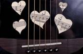 Guitar and musical heart — Stock Photo