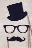 Wedding props mustache and glasses — Stock Photo
