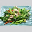 Stir fry chinese kale, cabbage with pork and red chili — Stock Photo #72126261