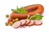 Sausage, olives and salad — 图库照片
