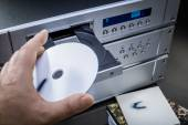 Music player with CD in the tray — Stock Photo