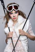 Skier, studio portrait — Stock Photo