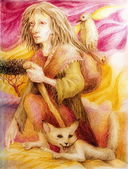 Ancient pilgrim woman with white fox and a bird, detailed colorful drawing in ocre and purple — Стоковое фото