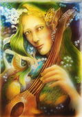 Elven man face with green hair and pearls playing a string instrument, detail. — Stock Photo
