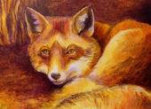 Monochromatic fox painting — Stock Photo