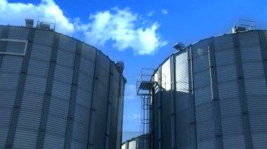 Wheat silos buildings — Stock Video