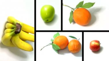 Fruits on white background — Stock Video