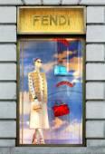 Fendi window in via Monte Napoleone, Milan — Stock Photo