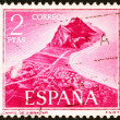 Gibraltar on a vintage spanish stamp — Stock Photo #71205823