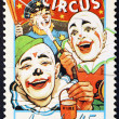 Australian stamp with clowns of circus — Stock Photo #71206129
