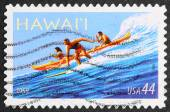 Stamp representing surfer & canoe in Hawaii islands — Stock Photo
