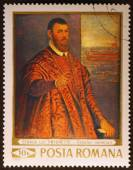 Painting by Tintoretto on romanian stamp — Stock Photo