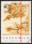 Prime meridian line on map of England, stamp — Stock Photo