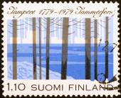 City of Tampere celebration on finnish stamp — Stock Photo