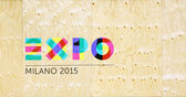 Expo logo on wooden wall — Stock Photo