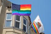 Flags in Castro, gay neighborhood — Φωτογραφία Αρχείου