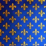 Blue wall with golden fleur de Lis — Stock Photo #74474151