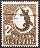 Crocodile drawn in aboriginal art — Stock Photo