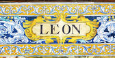 Leon inscription on colorful tiles — Stock Photo