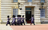 Parade of queen's guards — Stock Photo