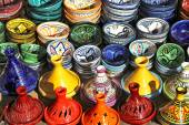 Multicolored pottery on sale — Stock Photo