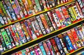 Rows of colorful manga books — Stock Photo