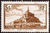Mont Saint Michel   on postage stamp — Stock Photo