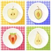 Set of fruit cross section — Stock Vector