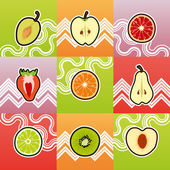 Set of funny fruit cross section — Stock Vector