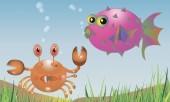 Background picture crab fish sea — Stockvektor