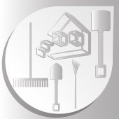 Rake  shovel  house project  image — Stock Vector