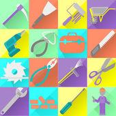 Set, construction tools, colors — Stock Vector
