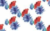 Watercolor poppies cornflowers seamless — Stock Vector