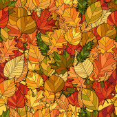 Abstract doodle autumn leaves seamless pattern — Stock Vector