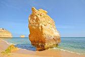 Huge rock at the cliff beach of Praia da Marinha, lovely hidden beach near Lagoa Algarve Portugal — 图库照片
