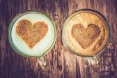 Coffee cups with a hearts - retro and vintage style — Stock Photo