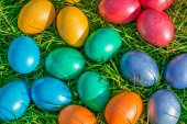 Colorful Easter eggs on a green grass — Stock Photo