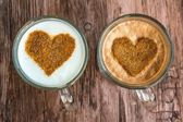 Coffee cups with a hearts — Stock Photo