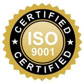 ISO certified gold emblem — Stock Photo
