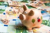Piggy bank in a pile of euro money — Stock Photo